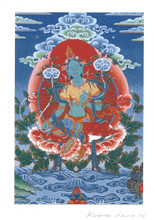 Green Tara Deity Card Print, by Kumar Lama