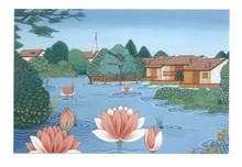 Lotus Pond: Tibetan Life Card Print, by Kumar Lama
