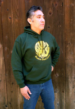 Forest green POL logo hoodie (shirt modeled is size large)
