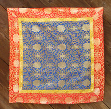Large blue brocade with yellow and red border (38x38 inches)