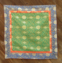 Large green brocade with red and blue border (38x38 inches)