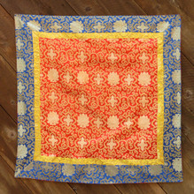 Large red brocade with yellow and blue border (38x38 inches)
