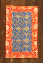 Medium blue table brocade with red border (20x32 inches)