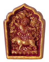 Burgundy and Gold Painted Dorje Drolod Tsa Tsa