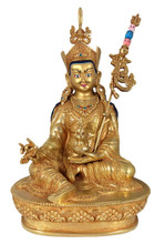 Guru Rinpoche Statue with Golden Finish - 8.75""