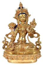 White Tara Statue with Golden Finish - 9""