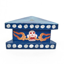 "Wooden Painted Phurba Stand 4"" x 2"" - Blue"