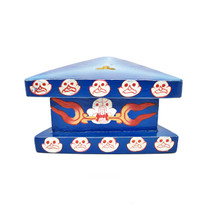 "Wooden Painted Phurba Stand 4.25"" x 2.25"" - Blue"