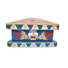 "Wooden Painted Phurba Stand 4.85"" x 2.25"" - Blue w Red Top"