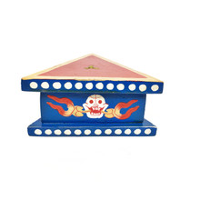 "Wooden Painted Phurba Stand 5"" x 2.25"" - Blue w Red Top"