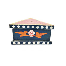 "Wooden Painted Phurba Stand 5"" x 2"" - Dark Blue w Red Top"