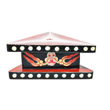 "Wooden Painted Phurba Stand 5.25"" x 2.25"" - Red and Black"