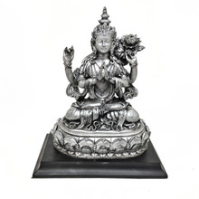 Avalokiteshvara (Chenrezig) Resin Statue - Antiqued Silver Finish 7""