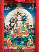 """White Tara Print Thangka - 36"""" x 24"""""""