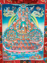 "Dudjom Tersar Refuge Tree Print Thangka - 52"" x 32"""