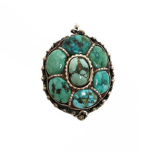 Silver Gau with Turquoise Cabochons