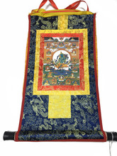 Mini Golden Green Tara Print Thangka
