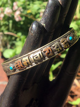 Multi-Metal Mantra Bracelet Sanskrit Blue-Green