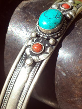 White Metal Turquoise Bracelet with Red Stones