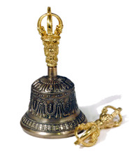 Five Prong Bell & Dorje Set With Gold Colored Finish (Version 2)