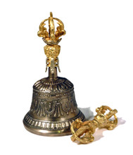 Five Prong Bell & Dorje Set With Gold Colored Finish (Version 1)