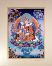 Print of Guru Rinpoche With Yeshe Tsogyal Thangka by Kumar Lama