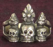 Silver Skull Ornament Ring by Natsog Dorje, Size 9.
