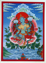 Large Print of Green Tara Thangka by Kumar Lama