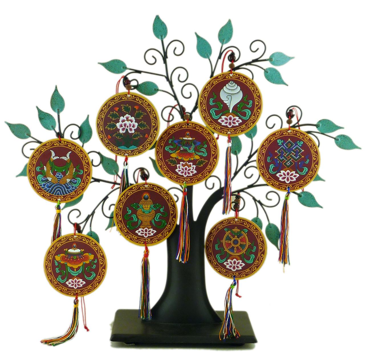 8 Auspicious Symbol Hanging Medallions Dharma Treasures