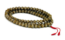 Shell mala with Mani mantra carved into each bead. 108, size 8mm beads.