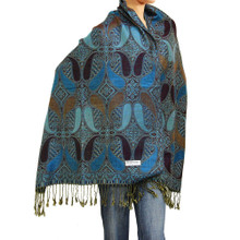 Blue and Brown Paisley Drop Pashmina Shawl