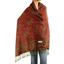 Red and Orange Paisley Pashmina Shawl