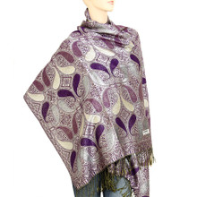 Purple and Silver Paisley Drop Pashmina Shawl
