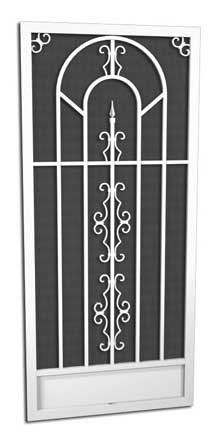 French Quarter Screen Door // O-250  5 Powder Coat Finishes  Attractive and Durable Powder Coat Finishes   Every PCA screen door is individually powder-coated by hand after assembly. This method ensures a beautiful, long lasting durable finish. SALT AIR CORROSION RESISTANT  PCA's powder coating provides a truly maintenance-free/rust-free finish even in the harsh salt air environments such as coastal areas.  In fact, the finish has been tested to exceed 4,000 hours of salt spray, which is up to 4 times the protection of baked on enamel paint.  AVAILABLE IN WHITE, IVORY, SANDSTONE, CLAY OR BRONZE   With a PCA screen door you have choices to match or complement the finish of your home.