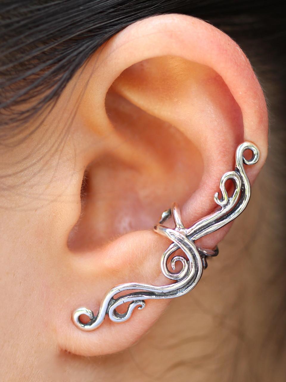 French Twist Ear Cuff  Silver