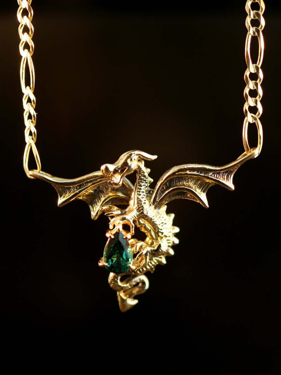 Dragon In Flight Pendant with Tourmaline Jewelry