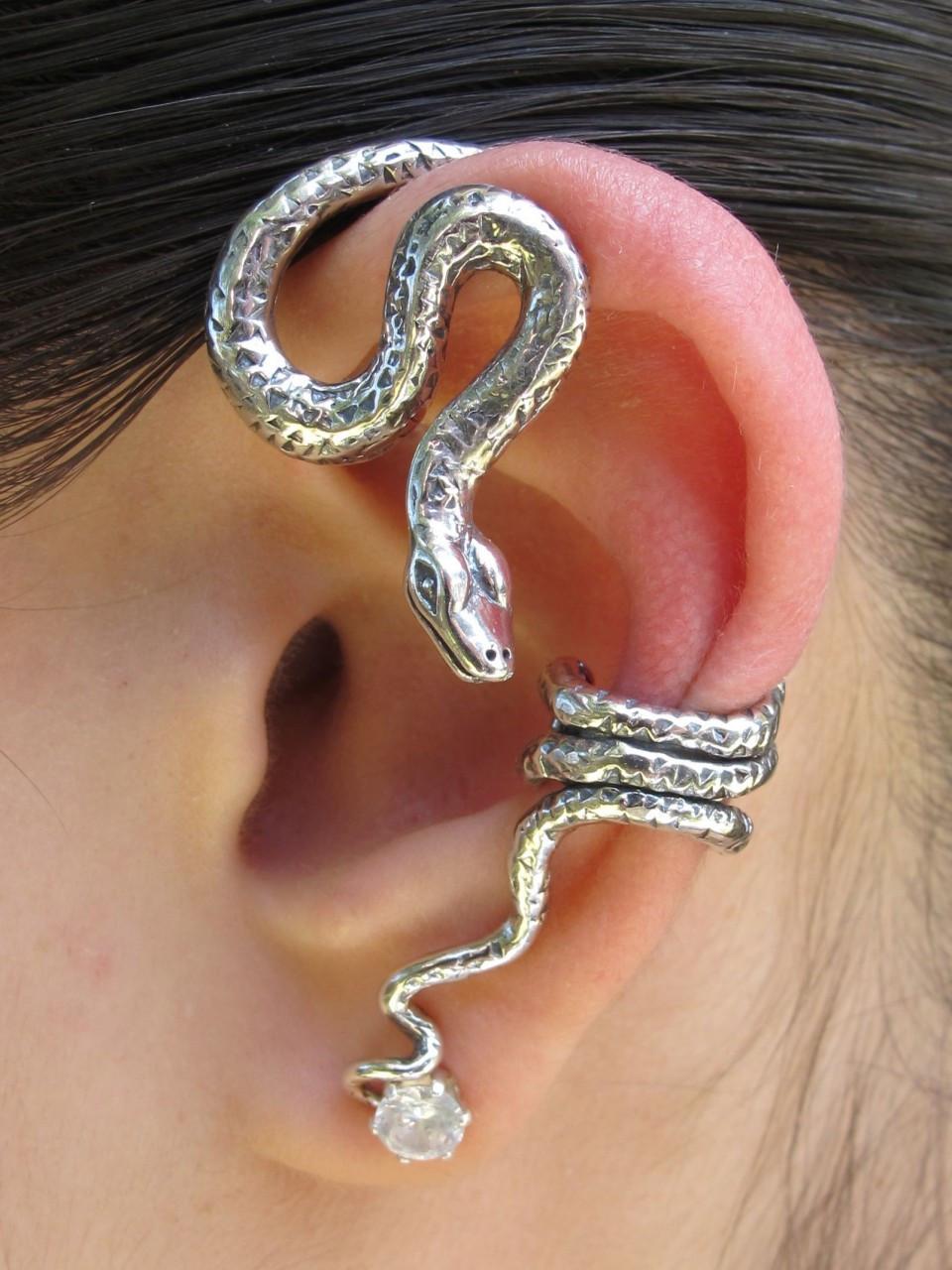 Python Snake Ear Wrap Silver Marty Magic Store