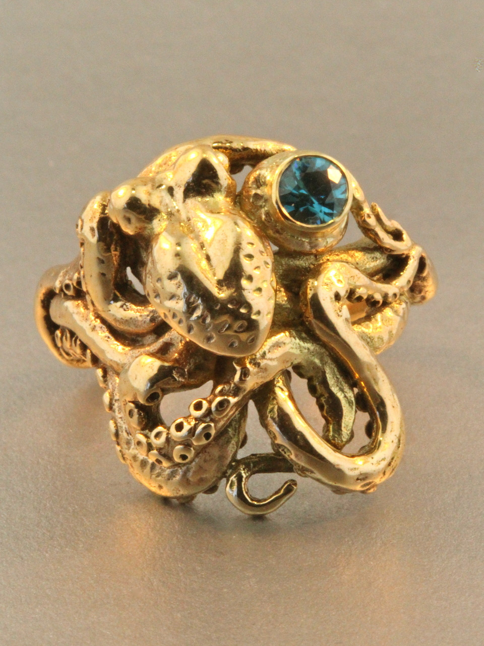 Octopus Ring With Blue Zircon 14k Gold Marty Magic Store