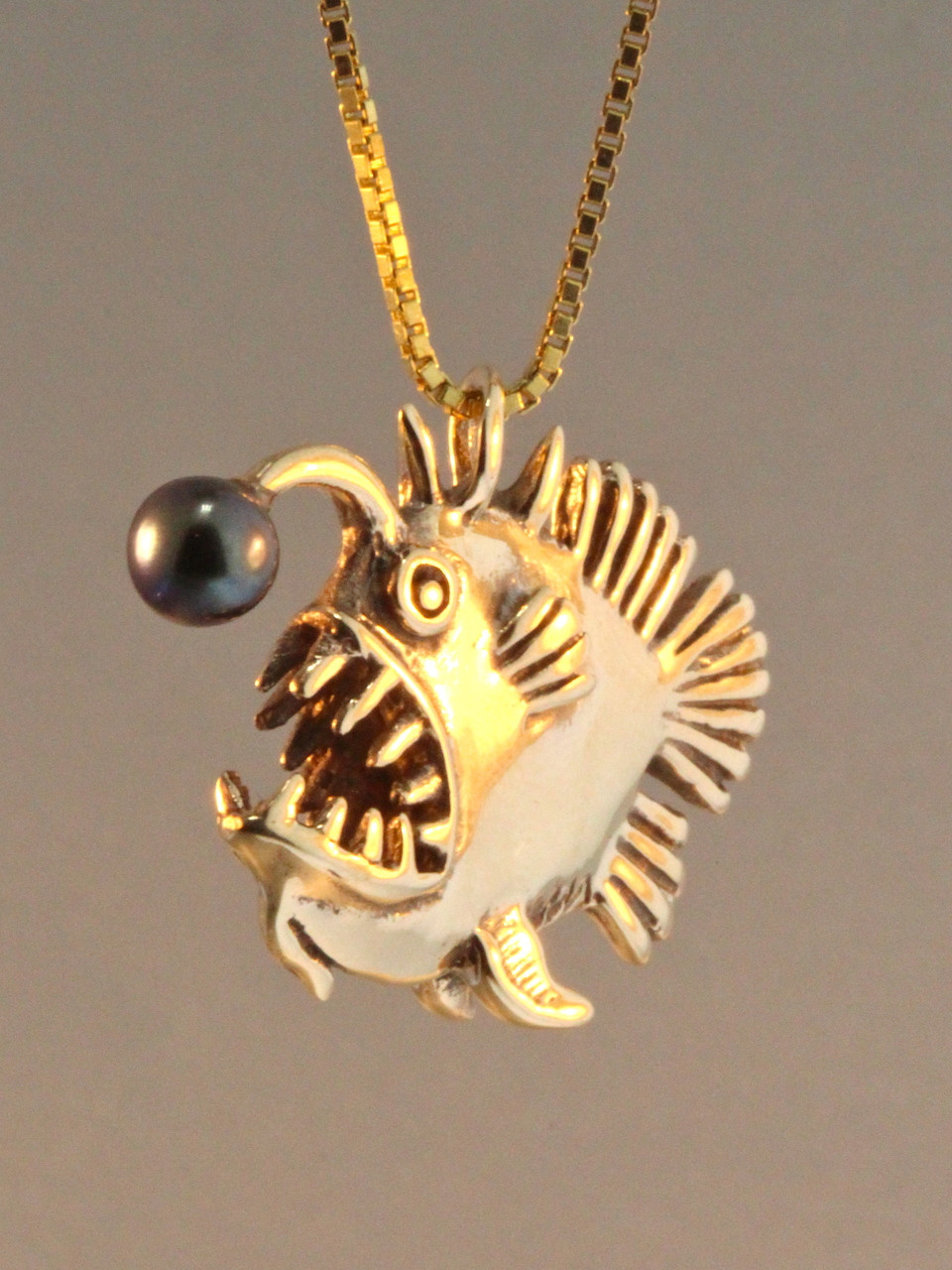 Gold angler fish charm with black pearl 14k gold for Gold fish charm