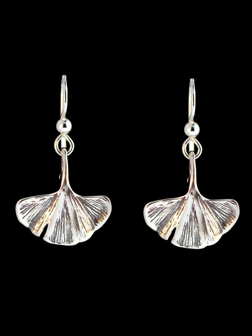 Ginkgo Leaf Earrings  Silver