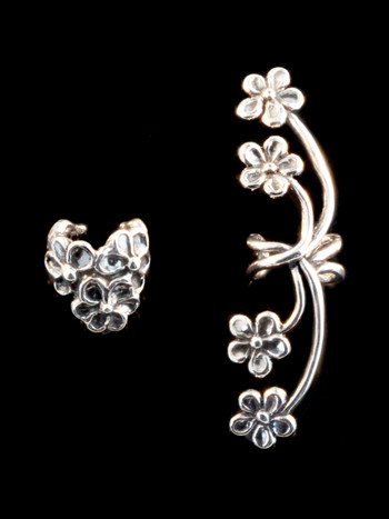 Silver Daisy Love and Silver Forget Me Not Ear Cuff