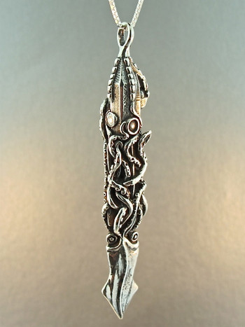 Squid Attacks Nautilus Submarine Pendant -  Silver