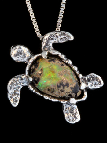 Treasure Back Sea Turtle -Australian Boulder Opal with Tsavorite Eyes