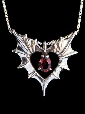 Phantom Heart Pendant with Rhodolite garnet