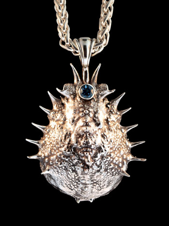 Adriatic Spider Crab Carapace Amulet with Blue Topaz -Silver