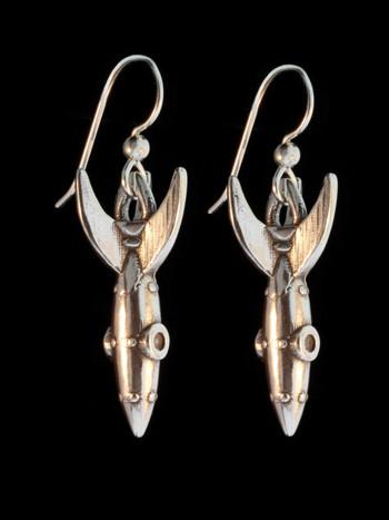 Alien Rocket Earrings RKT-2 - Silver