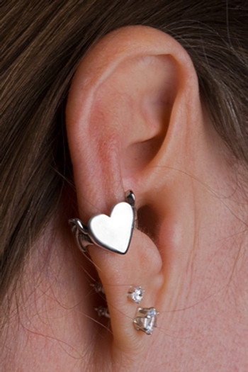 Bat Winged Heart Ear Cuff - Silver