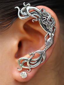 Wave Rider Mermaid Ear Wrap - Silver