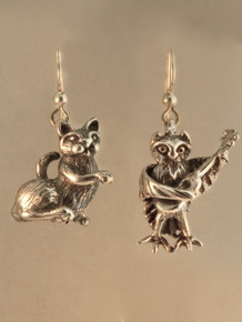 Edward Lear Poem - Owl and the PCat Earrings - Silver
