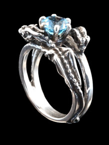 Double Dragon Eternity Wave Ring in Sterling Silver with Blue Topaz